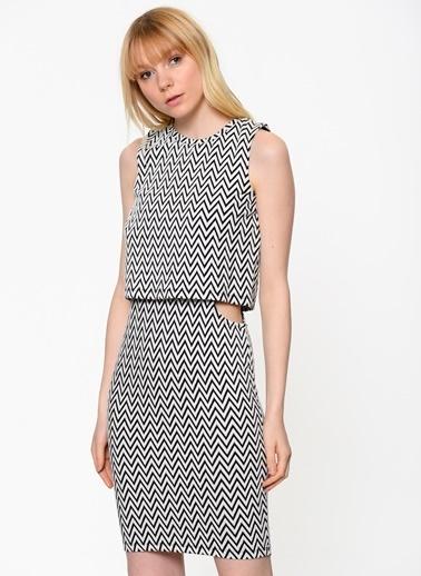 Şerit Desenli Dar Günlük Elbise-Vero Moda